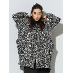 cheap Hooded Irregular Design Single Breasted Graphic Print Coat