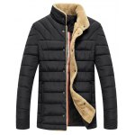 Wool Stand Collar Button Up Quilted Jacket