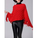 Fringe Asymmetric Sweater Poncho for sale