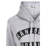 Letter Print Drawstring Hoodie with Pockets deal