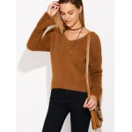 cheap Lace Up Fuzzy Sweater
