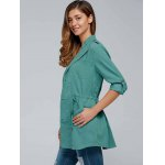 Drawstring Trench Coat with Epaulets deal