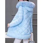 Long Hooded Puffer Coat With Fur Trim deal