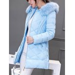 cheap Long Hooded Puffer Coat With Fur Trim