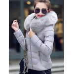 cheap Faux Fur Hooded Padded Jacket