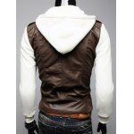 Zip Pocket Faux Leather Insert Hooded Jacket deal
