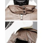 Zip Pocket Faux Leather Insert Hooded Jacket for sale