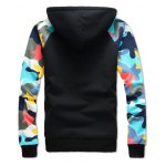 cheap Camouflage Splicing Zip Up Flocking Hoodie and Pants Twinset
