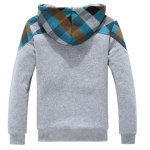 cheap Side Pocket Plaid Insert Flocking Zip Up Hoodie