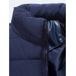 cheap Zip Up PU Leather Panel Padded Jacket