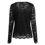 cheap Cutout Long Sleeve Lace Blouse