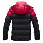 cheap Zip Up Striped Color Block Hooded Padded Jacket