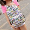 cheap Colour Block Bicycle Pattern Canvas Backpack