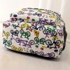 best Colour Block Bicycle Pattern Canvas Backpack