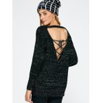 best Lace Up Backless Sweater