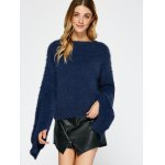 cheap Slit Sleeve Fuzzy Sweater