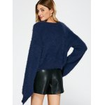 best Slit Sleeve Fuzzy Sweater