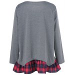 cheap Plus Size Plaid Flounced T-Shirt