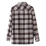 cheap Floral Embroidered Patched Tartan Shirt