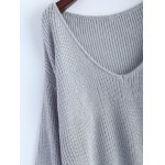 V Neck High Low Oversized Pullover Sweater for sale