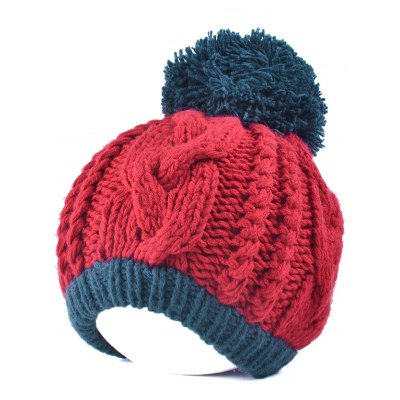 Twist Knit Double Color Ball Beanie