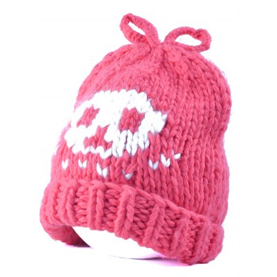 Flanging Skull Knit Bow Top Beanie