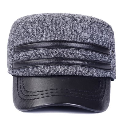 Outdoor Winter Double PU Leather Band Rhombus Ear Warmer Hat