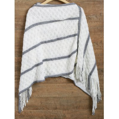 Striped Asymmetrical Fringed Poncho Sweater