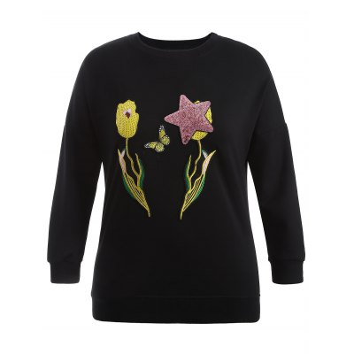 Plus Size Sequin Embellished Embroidered Sweatshirt