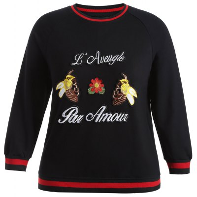 Plus Size Bee Embroidered Sweatshirt