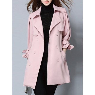 Double Breasted Belt Pockets Trench Coat