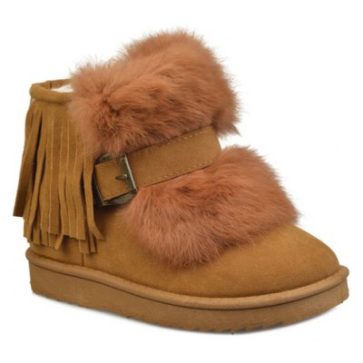 Buckle Fringe Snow Boots