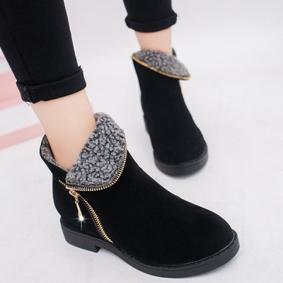 Flat Heel Zipper Round Toe Ankle Boots