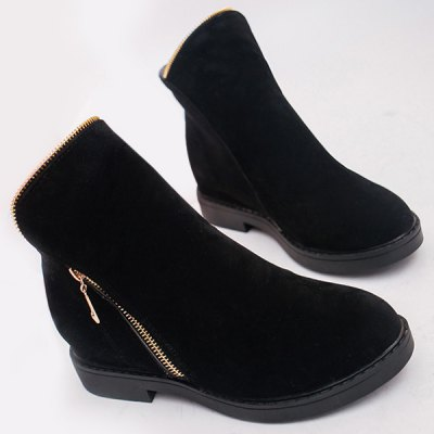 Zipper Round Toe Ankle Boots