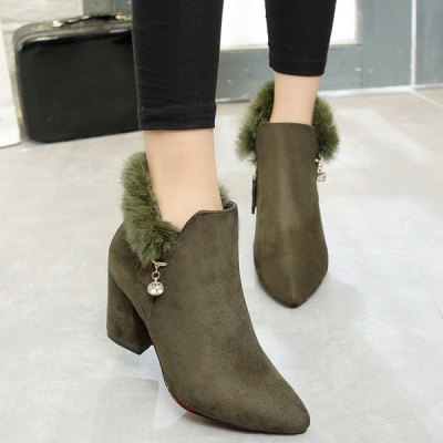 Rhinestone Faux Fur Ankle Boots