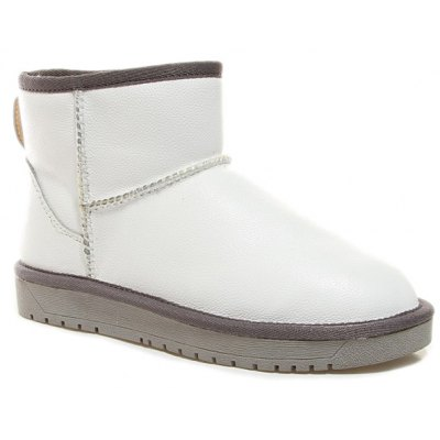 PU Leather Flat Heel Ankle Snow Boots
