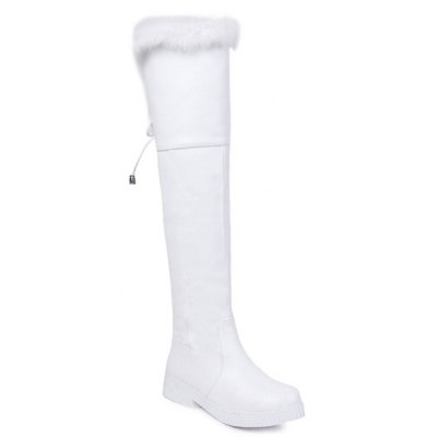 PU Leather Fuzzy Thigh Boots