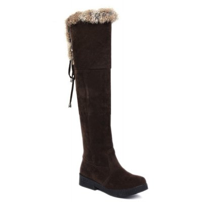 Suede Fuzzy Thigh Boots