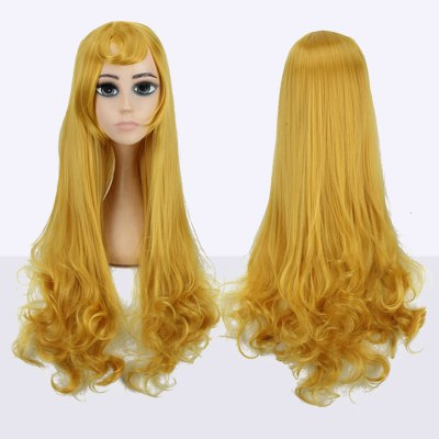 Long Side Bang Tail Curly Fairy Cosplay Synthetic Wig