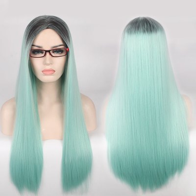 Double Color Long Centre Parting Straight Cosplay Synthetic Wig