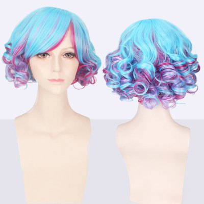 Short Side Bang Curly Cosplay Synthetic Wig