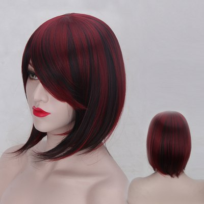 Short Oblique Bang Straight Double Color Synthetic Wig