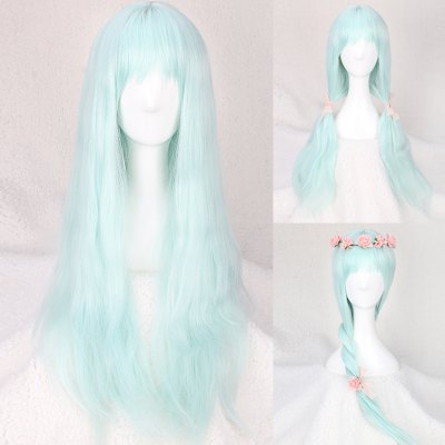 Long Full Bang Slightly Curled Fairy Cosplay Synthetic Wig
