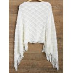 cheap Asymmetrical Fringed Poncho Sweater