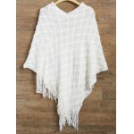 Asymmetrical Fringed Poncho Sweater for sale