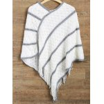 Striped Asymmetrical Fringed Poncho Sweater deal