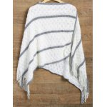 cheap Striped Asymmetrical Fringed Poncho Sweater