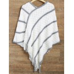 Striped Asymmetrical Fringed Poncho Sweater for sale