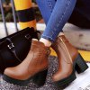 cheap Stitching PU Leather Platform Chunky Heel Boots