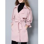 cheap Double Breasted Belt Pockets Trench Coat